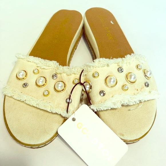 Gold Toe Shoes - New Pearl & Rhinestone Sandals
